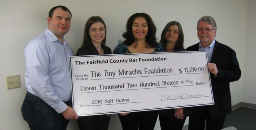 The Fairfield County Bar Foundation presented a check for $11,216.00 to The Tiny Miracles Foundation (TTMF)!